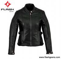 Women Leather Semi Biker Jacket