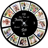 Innovative Round Clock 12 Wooden Pictures