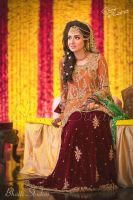 Bridal Mehndi Dress with Chiffon Embroidered Shirt and Velvet Embroidered Lehnga