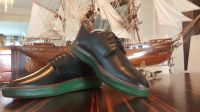 Men shoes calf leather in Black color. Oxford type from stock. First quality
