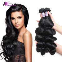 Allove Brazilian human remy hair weaving loose wave 3bundles/lot