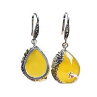 Thai Sterling Silver Yellow Chalcedony Drop Retro Earrings (E170619YELLOW)