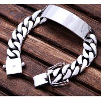 Men Heavy Sterling Silver Chunky Chain Link ID Bracelet (056607)