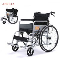 Hot selling portable manual wheelchair folding commode wheelchair for disabled