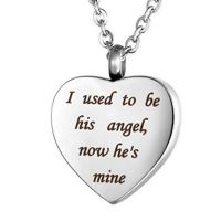 Heart Cremation Urn Necklace Memorial Keepsake Pendant Jewelry - Engraved I used to be his angel, now he's mine