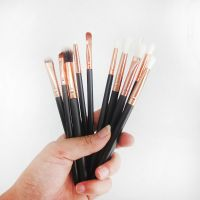 12Pc Rose Gold Makeup Brushes Professional Eye Shadow Foundation Eyebrow Oval Brush Cosmetic Make Up Brush Set
