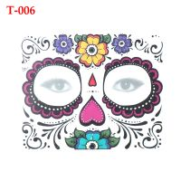 Day of The Dead Skull Face dress up Temporary Tattoo Stickers Pop Halloween Party Facial makeup Special Waterproof Face Tattoos