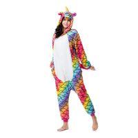 wholesale adult pajamas sexy adult onesie custom fish scale unicorn kigurumi flannel women pajamas kigurumi onesie pajamas