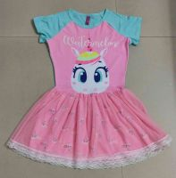 viscose spandex and meshed girls fantacy dress unicorn design with lining and laced fabric for decoration