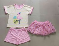 viscose spandex and meshed girls fantacy dress 3-pcs set flamingo design shortdolls