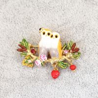 Owl Enamel Pins Wholesale, Latest Brooch with Red Heart Charm