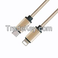 Fashionable Metal Case USB 2.0 Type C Male to Lightning Male Cable with light yellow Fabric Braided
