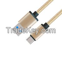 Fashionable Type Metal Case USB 3.0 A Male to USB 3.1 Type C Male Cable with Fabric braided