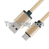 Popular Type Metal Case USB 2.0 A Male to USB 2.0 Type C Male Cable with Fabric braided