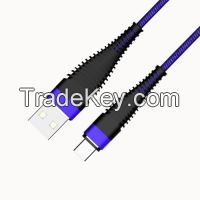 New design and Hot selling USB to Type C Fabric Braided Cable with Metal case and Long tail