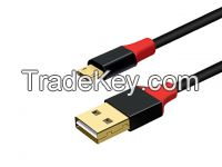 Gold plated connector Double Sides USB2.0 A to Micro USB B Male Cable with both Metal heads