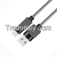 High Quality Zinc Case USB to Micro USB Cable with Spring Sheath for Mobile Phone