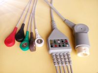 Mindray 5 lead ECG Cable with leadwires, 12 PINS, snap, AHA