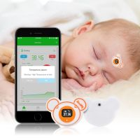 Icooling Accurate, Bluetooth, Smart Thermometer, Continuously Temperature Monitor, Soft Wearable Thermometer with Ios and Android Mobile Fever Alerts for Baby