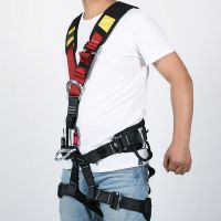 construction vest style full body harness black red yellow