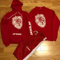 Wholesale OEM Red Fitted Sweatsuit Tracksuit Zipper Hooded Jogging Men Jogger Track Suit