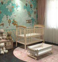 high quality material wooden steam beech swing and storage baby cot