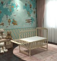 high quality material wooden steam beech swing baby cot