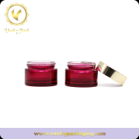 Red Cosmetic Jar Glass