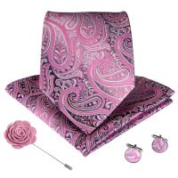 DiBanGu Wedding Classic Fashion Pocket Square Ties Woven Men Tie Purple Paisley Necktie Handkerchief Cufflinks Set With Gift Box