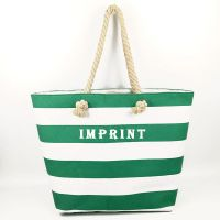 Easy carry manual multicolor stripes cotton canvas beach bag with rope belts