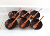 Bat bowl combo of coconut wood spoon