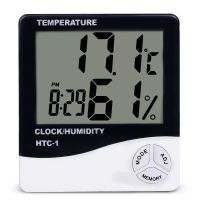 Lcd Display Digital Temperature Humidity Meter, Temperature Hygrometer With Clock Htc-1
