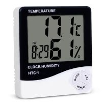 Lcd Display Digital Temperature Humidity Meter, Temperature Hygrometer With Clock Htc-1