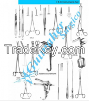 D&c instruments set for dilation and curettage.