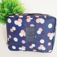 flower printing convas cosmetic bag storage bag with handle