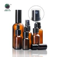 amber essential oil glass dropper bottle with spray pump for cosmetic packaging 5ml 10ml 15ml 20ml 30ml 50ml 100ml