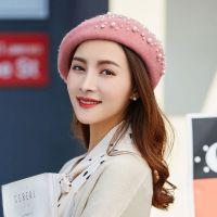 Wholesale pumpkin cap leisure woolen top quality pearl beret