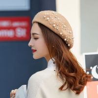 Wholesale pumpkin cap leisure woolen top quality pearl beret