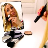 Makeup Mirror, 22 LED Lights and Touch Screen, Detachable 10X Magnification Spot Mirror, 360   Free Rotation, Battery Powered High Clarity Cosmetic Mirror MM138