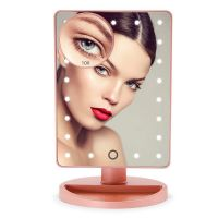 Makeup Mirror, 22 LED Lights and Touch Screen, 360°Free Rotation, Detachable 10X Magnification Spot Mirror, Battery Powered High Clarity Cosmetic Mirror  MM138