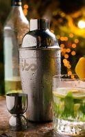 7 Piece Cocktail Shaker Bar Set Premium Stainless Steel Drink Martini Shaker Bundle - Shaker, Strainer, Jigger, Corkscrew, Ice Tongs, Wine Opener Stand Bonus 150 Cocktails EBOOK Silver JS144