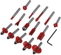15 Pieces 6.35mm Woodworking Carbide Router Bit sets, Carbide Tipped Router Bits(1/4 inch Shank) TP132