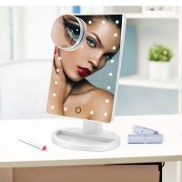 Makeup Mirror, 22 LED Lights and Touch Screen, 360�°Free Rotation, Detachable 10X Magnification Spot Mirror, Battery Powered High Clarity Cosmetic Mirror  MM138