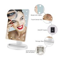 Makeup Mirror, 22 LED Lights and Touch Screen, 360   Free Rotation, Detachable 10X Magnification Spot Mirror, Battery Powered High Clarity Cosmetic Mirror  MM138
