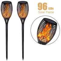 Solar Light Outdoor Flame Dancing Flickering Torch Lights Waterproof 96 LED Lantern Solar Spotlights Dusk to Dawn Lighting Lamp for Garden Pathways Yard Patio Path