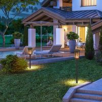 Solar Light with Flickering Flame, Waterproof Outdoor 96 LED Tiki Torches Landscape Decoration Lighting Dusk to Dawn Auto On/Off Solar Pathway Light for Garden Patio Deck Yard Driveway SL129
