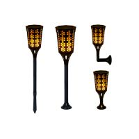 Solar Lights 96 LED Flickering Flame Solar Lights Outdoor Decoration Lighting with Auto On/Off Dusk Warm Lamp for Deck Wall Step Yard Fence Patio Garden Driveway SL113