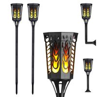 Solar Light with Flickering Flame,Waterproof Outdoor 96 LED Tiki Torches Landscape Decoration Lighting Dusk to Dawn Auto On/Off Solar Pathway Light for Garden Patio Deck Yard Driveway