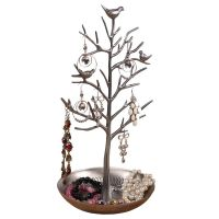Silver Birds Tree Jewelry Stand Display Earring Necklace Holder Organizer Rack Tower  TW115