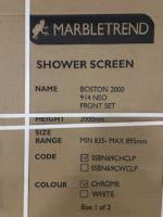 New still packaged, Marbletrend Flinders (Boston) Semi-framelss Adjustable Corner Shower Screen